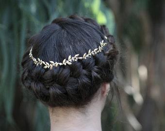 Venus Vines & Pearls Wreath, Gold Leaf Headband, Bohemian Tiara, Forehead Band, Golden Leaves, Bridal Hair Accessories, Grecian Tiara