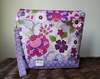 """Knitting Project Bag - Large """"Purple Floral"""""""