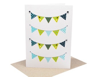 Baby Boy Card | 4 Rows of Bunting |  BBYBOY045