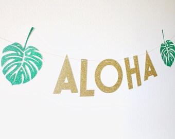 Aloha - Aloha Banner - Luau Party - Aloha Bridal Shower - Tropical Party - Hawaiian Banner - Aloha Party - Aloha Bridal Shower Decorations