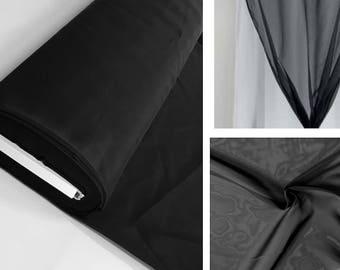Sheer Voile Tergal black pure large width 320 cm, decor, clothing, wedding, photo shoot, opaque light