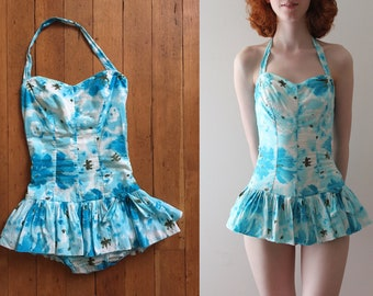 vintage 1950s swimsuit // 50s blue drop waist bathing suit
