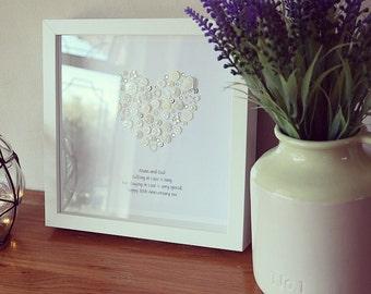 Pearl Wedding Anniversary - Pearl Anniversay Keepsake - Pearl Button Art - 30th Wedding Anniversary