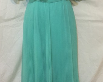 Miss Elliette California Flowing Chiffon Vintage Mint Teal Dress