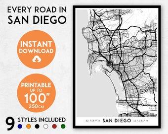 San Diego map print, Printable San Diego map art, San Diego print, San Diego art, San Diego poster, San Diego wall art, California map print