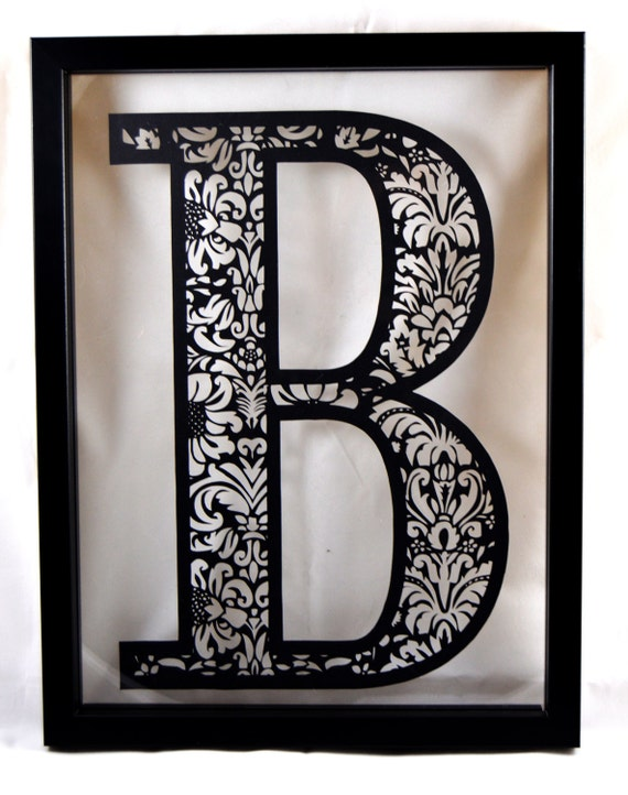 Diy paper cutting template damask initial b a4 pdf spiritdancerdesigns