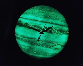 Glow In The Dark Decor, Steampunk Clock, Jupiter Wall Clock, Astrology Gift, Celestial Art Planet, Space Deco, Oversized clock, Unique Clock