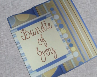 Baby Boy Card with Stripes and Polka Dots - Bundle of Joy New Baby Card - Blue and Brown Baby Boy Cards - Baby Shower Card - Handmade Cards