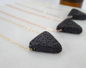 Lava Triangle Essential oil necklace, Diffuser Necklace, Aromatherapy on the go, Bridesmaid necklace
