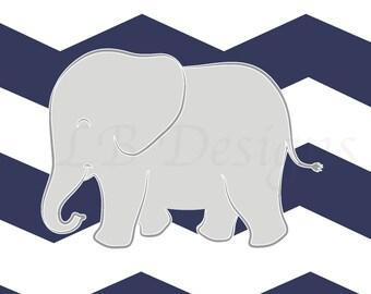 Elephant Nursery Print, Navy Blue and Gray Nursery, Chevron Decor, Elephant Nursery Decor, Navy Blue Elephant - 8x10