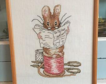 Handmade Framed Tailor of Gloucester Beatrix Potter Cross Stitch Nursery Decor