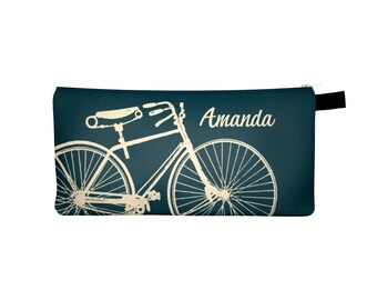 Custom Pencil Case, Back to School Gift, Personalized Pencil Case, Custom Name Pencil Case, Bicycle Pencil Case, Stocking Stuffer, Bike