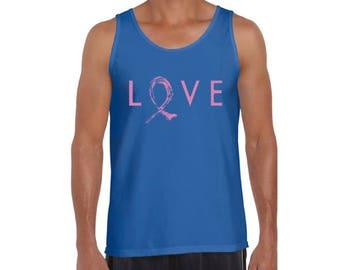 Love Pink Ribbon Men's Tanks Breast Cancer Awareness Vintage Tank Tops Hope Love Cure