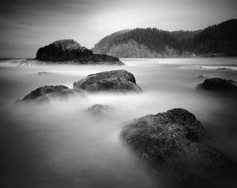 Cannon Beach - Oregon Coast - Oregon Ocean Seascape, Black and White Matted Photograph in a Wood Frame