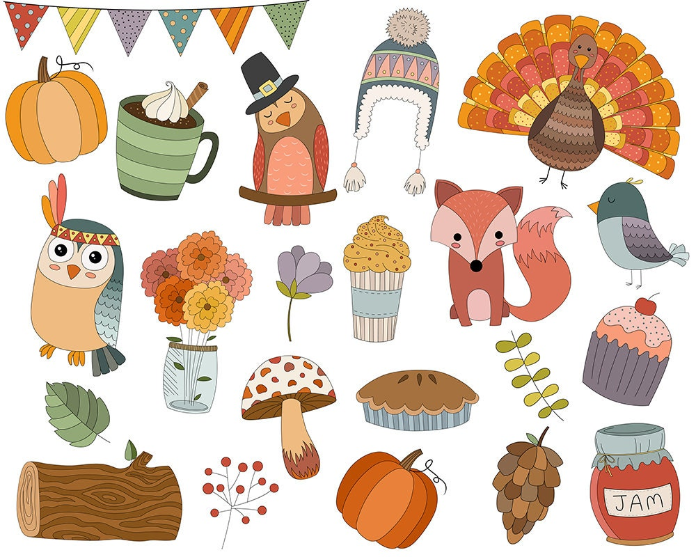 autumn doodles clip art set of 22 300 dpi png jpg and rh etsy com cute fall animal clipart cute fall clipart free