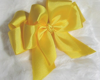 Solid Yellow 5 inch Double Hair Bow - Great for Easter