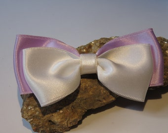 Big bow satin purple and white hair on mixed media fabric
