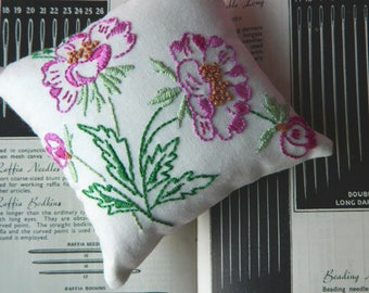 Pin Cushion ~ Hand Embroidered ~ Vintage Style ~ Wild Rose Flowers ~ Sewing Room Pin Holder Gift