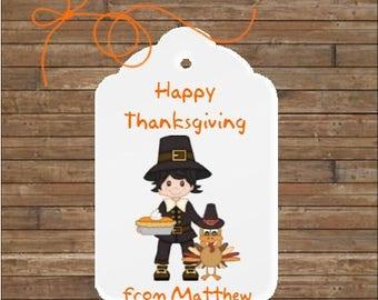 Personalized Thanksgiving Tags - Happy Thanksgiving Tags - Pilgrim Boy