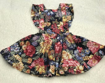 Bright florals pinafore OOAK, pinafore, girl's dress