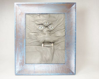SALE! Framed Three Eyed Monster Art Picture One Of A Kind Grey Leather Decor