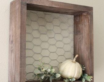 Chicken Wire & Wood Shelf, Farmhouse Decor, Farmhouse Shelf, Wall, Square, Box, Gallery Wall Decor