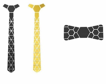 Combo Gift for him- Dual sided Cross spider Hex Style Golden-Black Tie with black bow- Honeycomb (NeckTie, Hex Neck tie futuristic)