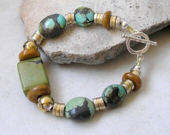 Turquoise Bracelet Geometric Southwest Sterling Silver Mixed Metals December Birthstone Healing Stones Metaphysical