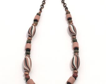 Porcelain and Copper Necklace in Black, Pink, and White, Limited Edition