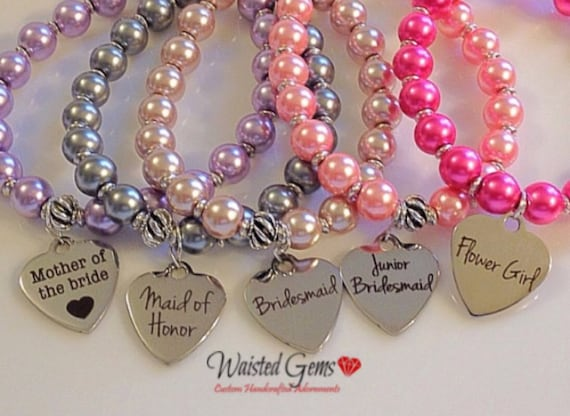 Bridal Party Bracelets, Flower Girl, Maid of Honor, Bridesmaid, Jr. Bridesmaid, Wedding Party Gifts, Pearl Bracelets zmw1971