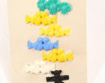 Vintage Plastic Barrettes Children's Birds Teddy Bear Barrettes 1960s Snap Hair Clips Lot of 7