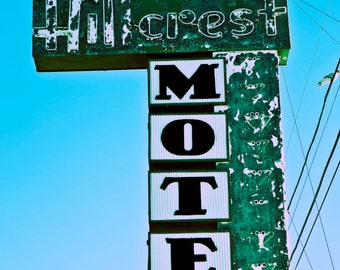 Route 66 Hillcrest Motel Sign, Route 66 Motel Sign Retro Motel Sign Motel Sign Guestroom Wall Art Guestroom Decor Retro Wall Art Retro Decor