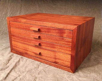 Jewelry Box--Quartersawn Ribbon Sapele Jewelry Chest--Jewelry Box