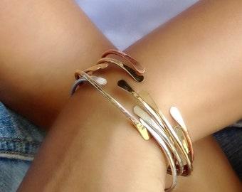 TRAVELER CUFF // Gold Cuff, Rose Gold Cuff, Sterling Silver Cuff, Gold Bracelet, Rose Gold Bracelet, Gold Bangles, Silver Bangles
