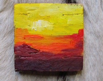 Custom Abstract landscape, painting, small, original oil painting, Yellow, vermilion, aubergine, sunset, square art, miniature painting