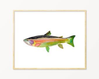 Watercolor Trout Art Print. Fly Fishing Wall Art. Green Trout Wall Art. Angler Art. Fish Art Print. Lake House Wall Art. Dad Gift. Man Art.