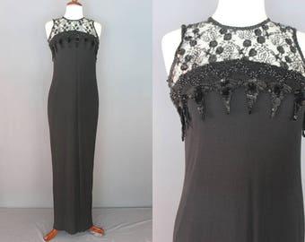 90's Prom Dress    90's Black Sheath Dress With Beaded Bodice 90's Party Dress 90's Formal Dress 90's Occasion Dress