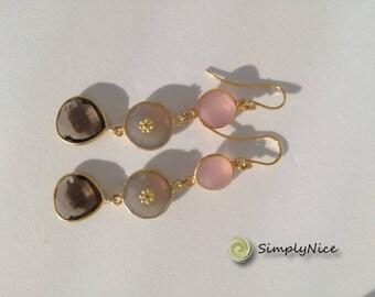 Quartz and Agatha Topaz Earrings Gold