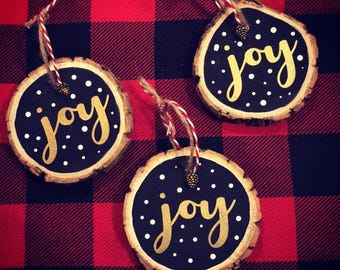 Gold Joy Wood Slice Ornament