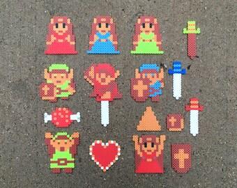 Zelda | Link | Items | Heart, Sword, Shield, Triforce, Meat | The Legend of Zelda | Perler Bead | Fuse Bead | 8bit | NES | Sprite