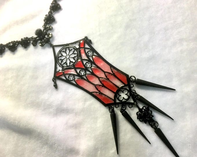 Metal Filigree Jewelery , handmade in italy adjustable 1 piece necklace cathedral style with stained glass