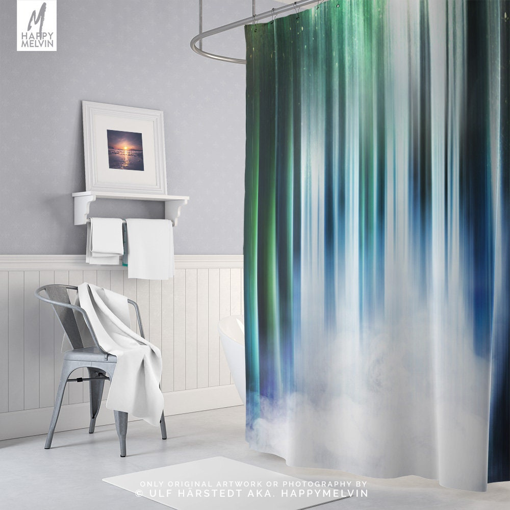 Dreamy Shower Curtain, Nature Art Bath Curtain, Colorful Shower ...