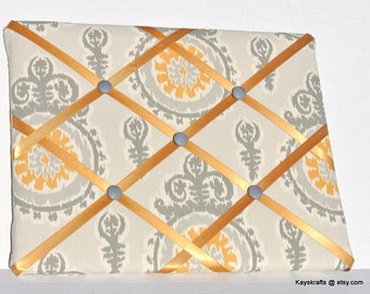 Gold and Gray Memory Board French Memo Board,  Fabric Ribbon Memo Bulletin Board, Fabric Message Board, Housewarming Gift