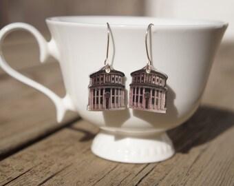 Rotunda earrings, Skyline jewelry, Cityscape, Little house, Gift for architect, City earrings, Architecture earrings, House jewelry, Silver