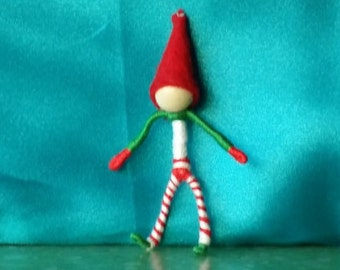 Miniature Christmas Elf in Christmas tree ornament