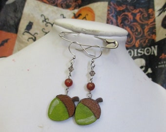 Hand Painted Acorn Beaded Earrings Green and Brown Fall Acorns One of a Kind