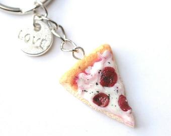 Mini Keychain - realistic pizza slice