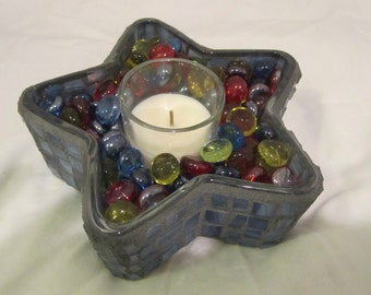 Blue Star Mosaic Candle Holder