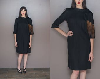 1960s Fur Tail Dress Vintage Black Wool Dress Mink Tail Scarf Shawl Dress Plus Size Dress - Large XL