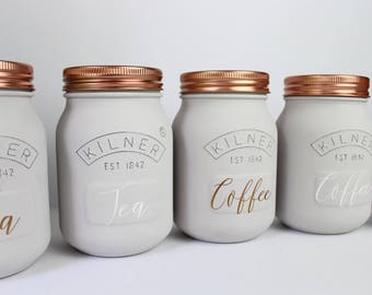 Grey Kitchen Set of 3 - Tea, Coffee and Sugar Canisters - Kilner Jars - Copper - Silver
